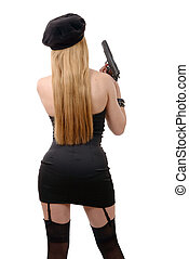 attractive young sexy woman with a gun, back view