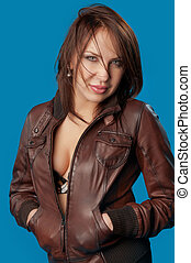 woman in a brown jacket