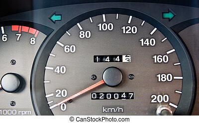 odometer - An automobile odometer