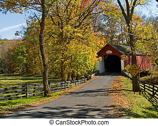Knechts Covered Bridge - An Autumn view of the historic...