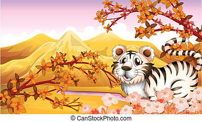 An autumn view with a tiger