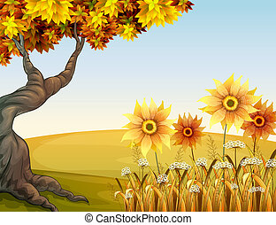 An autumn view with flowers - Illustration of an autumn view...