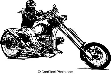 An black rider, an hand drawn vector, freehand - An Biker on...