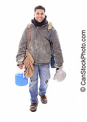 An construction employee, a man over white background