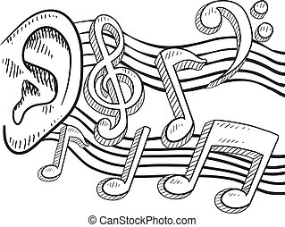 An ear for music - Doodle style ear with music notes ...