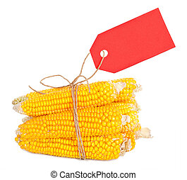 An ear of corn with a tag