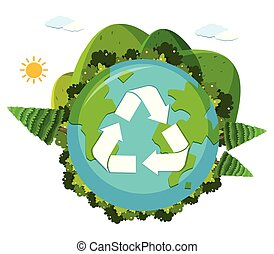 An earth recycle logo