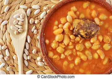 potaje de judias y garbanzos, a traditional spanish legume stew