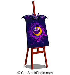 An easel with a terrible drawing of an open eye isolated on white background. Sketch for a poster or card for the holiday of all evil spirits Halloween. Vector cartoon close-up illustration.