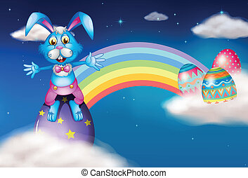 An easter bunny and eggs near the rainbow