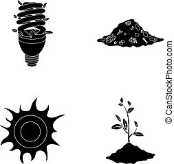 An ecological lamp, the sun, a garbage dump, a sprout from the earth.Bio and ecology set collection icons in black style vector symbol stock illustration web.