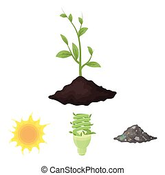 An ecological lamp, the sun, a garbage dump, a sprout from the earth.Bio and ecology set collection icons in cartoon style vector symbol stock illustration web.