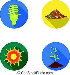 An ecological lamp, the sun, a garbage dump, a sprout from the earth.Bio and ecology set collection icons in flat style vector symbol stock illustration web.