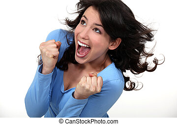 An ecstatic brunette.