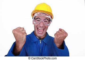 An ecstatic construction worker.