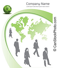 An editable vector page design with people and a globe