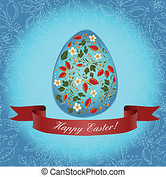 egg with a blue ribbon. Greeting Ca