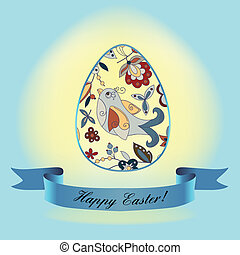 egg with a blue ribbon