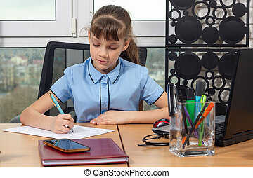 An eight-year-old girl at an office table is writing an important document
