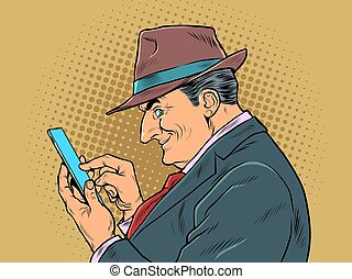 An elderly businessman with a smartphone. The boss looks at the messages. pop art retro vector illustration kitsch vintage drawing 50s 60s style