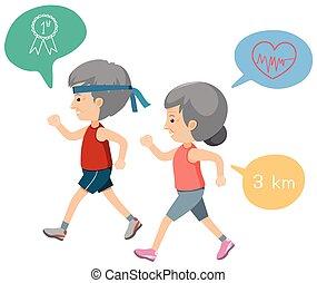 An Elderly Couple Exercise illustration