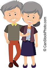 An elderly couple together illustration