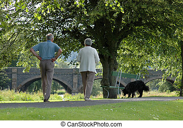 An elderly couple walking their dog in the sunshine
