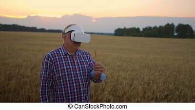 An elderly farm uses a VR helmet while standing in a field ...