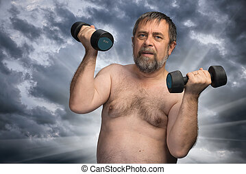 elderly fat man exercising with dumbbells