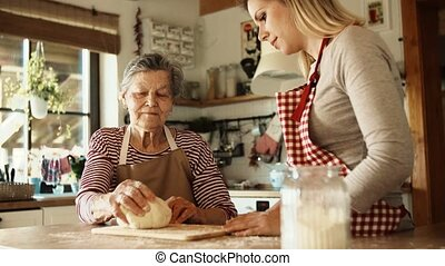 An elderly grandmother with an adult granddaughter at home,...