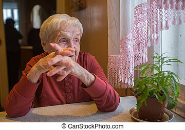 An elderly lady sits pensively near the window.