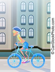 An elderly man riding a Bicycle on city street. Active lifestyle and sport activities in old age. Vector illustration.