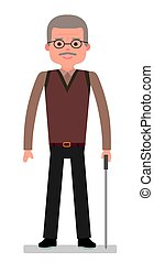 An elderly man with a cane on white background.