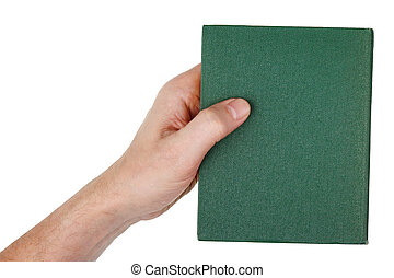 An elderly old man holds a green book in his hand. Isolated