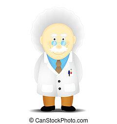academic - an elderly scholar academician in a white coat