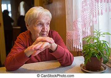 An elderly woman sitting near the window in the house.