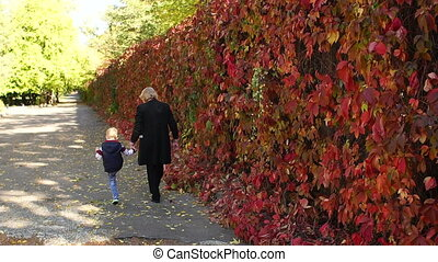 An elderly woman walks with her little grandson in the autumn Park along a alley