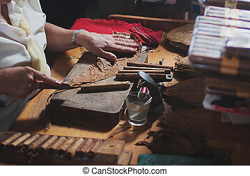 An elderly woman works on traditional manufacture of cigars ...