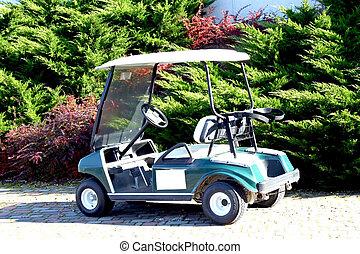 An electric golf car