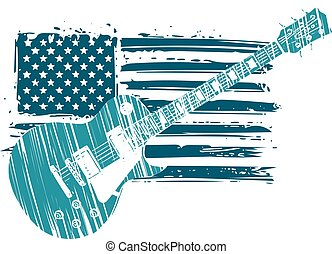 An Electric Guitar with American Flag Isolated on a White Background