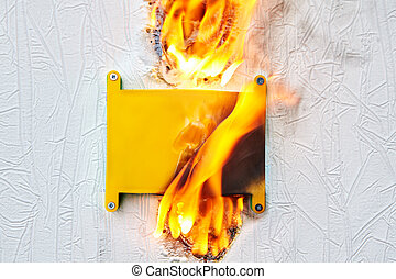 An electrical box that caught on fire.