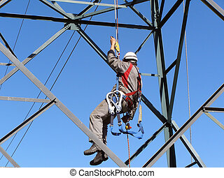 Linesman - An Electrical Linesman Repairs High Voltage Lines