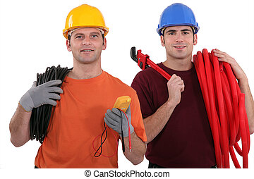 An electrician and a plumber.