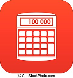 An electronic calculator icon digital red for any design...