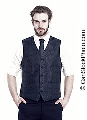elegant bearded business man in waistcoat isolated on white