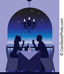 romantic dinner date - An elegant couple enjoying a romantic...