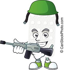 An elegant pills Army mascot design style using automatic ...