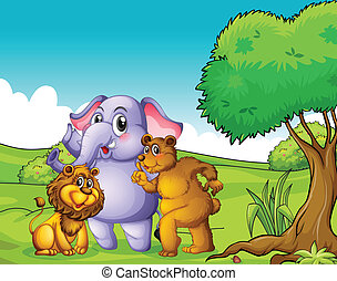 An elephant, a lion and a bear near the tree