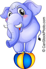 An elephant above the bouncing ball