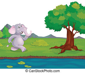 An elephant at the riverbank - Illustration of an elephant...